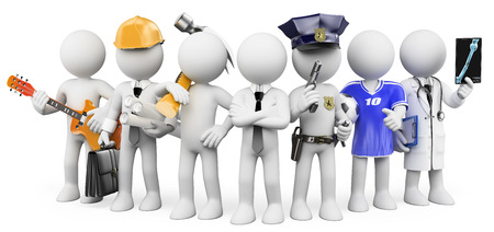 Photo pour 3d white people. People working in different professions. Isolated white background. - image libre de droit