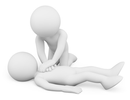 Foto de 3d white people. Cardiopulmonary resuscitation. CPR. Isolated white background. - Imagen libre de derechos