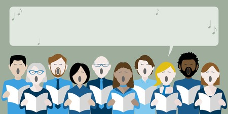 Illustrazione per Group of choir singers with speech bubble for text - Immagini Royalty Free