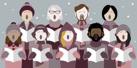 Illustrazione per Diverse group of adults singing christmas carols in a multicultural choir - Immagini Royalty Free