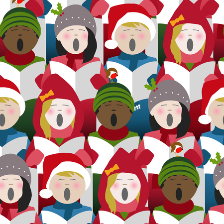Illustration pour Children wearing winter clothes singing Christmas carols from a song sheet. Seamless repeat background - image libre de droit