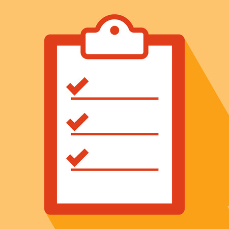 Illustration pour Clipboard Icon. Clipboard Icon vector isolated on orange background. Clipboard Icon with Long Shadow. All in a single layer. Vector illustration. Elements for design. Flat icon of clipboard. - image libre de droit