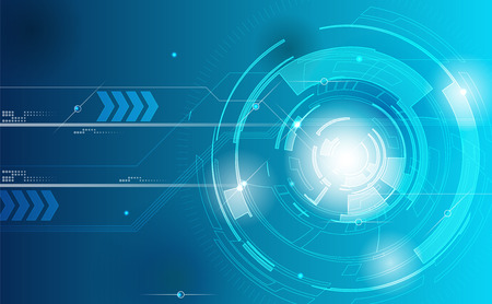 Foto de Background Technology. Blue tech background with shining abstract objects. Vector tech circle and technology background speed communication concept. - Imagen libre de derechos
