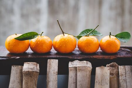 Foto de Yellow mandarin fruits - Imagen libre de derechos