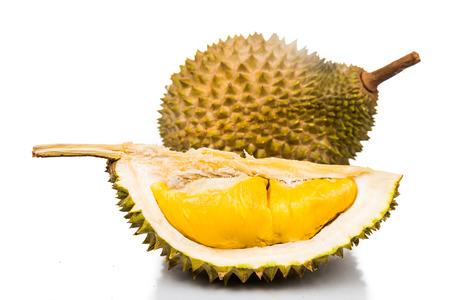 Foto de Freshly harvested durian fruit with delicious golden yellow soft flesh - Imagen libre de derechos