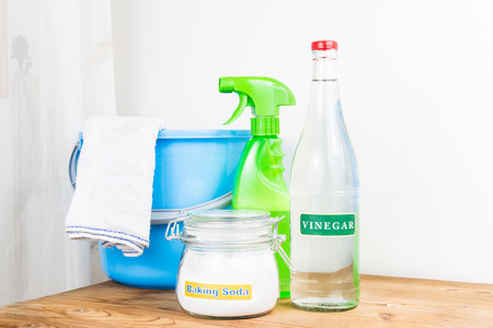 Photo for Baking soda with vinegar, natural mix for effective house cleaning - Royalty Free Image