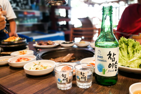 Photo pour Kuala Lumpur, Malaysia, June 26, 2017:  Jinro Chamisul Soju has been the world's best-selling soju for 12 consecutive years and has earned numerous accolades. Now available in Malaysia. - image libre de droit