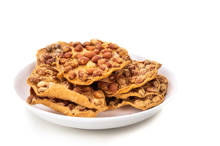 Photo for Rempeyek is fried cracker snack with peanut, popular in Malaysia and Indonesia - Royalty Free Image