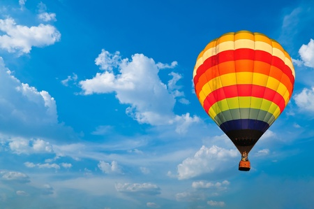 Photo for hot air balloon with beautiful blue sky and nice cloud in Thailand. - Royalty Free Image