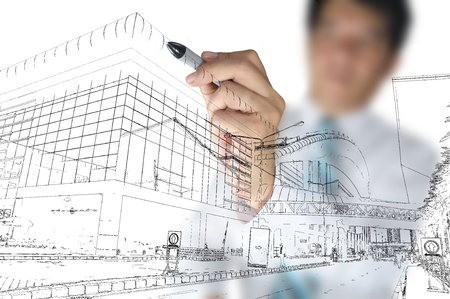 Foto de Business man draw building and cityscape - Imagen libre de derechos