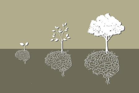 Ilustración de Young plant with brain root, vector - Imagen libre de derechos