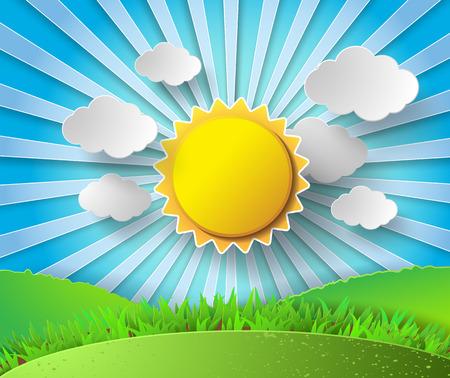 Ilustración de Vector sun with clouds background.paper cut style. - Imagen libre de derechos