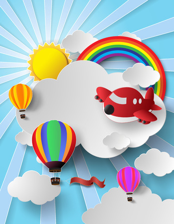 Illustration pour Vector illustration hot air balloon and air plane high in the sky with rainbow.paper cut style. - image libre de droit