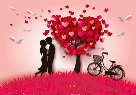 Photo pour Vector illustration two enamored under a love tree,paper cut style. - image libre de droit