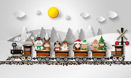 Illustration pour Children in fancy dress Sitting on the train, with a background as a snow mountain. - image libre de droit