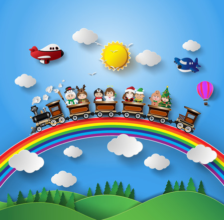 Illustration for Children in fancy dress sitting on a train that was running on a rainbow. - Royalty Free Image