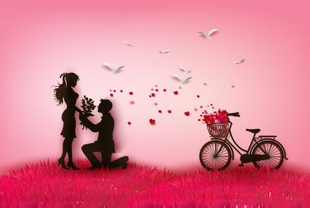 Photo pour couple silhouette with hearts.peper cut style. - image libre de droit