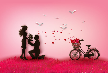Foto de couple silhouette with hearts.peper cut style. - Imagen libre de derechos