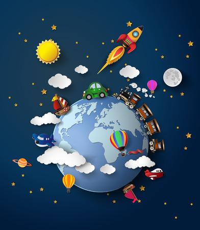 Illustration pour Vector illustration  of travel transportation .paper cut style. - image libre de droit
