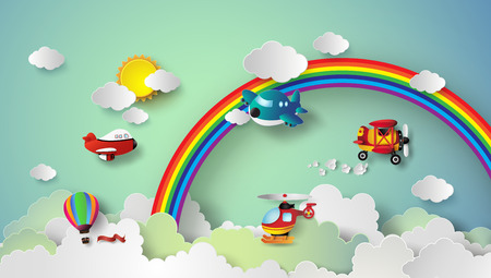 Illustration pour plane flying on sky with rainbow and cloud.paper cut style. - image libre de droit