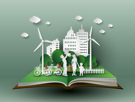 Ilustración de concept of eco with family.paper cut style - Imagen libre de derechos