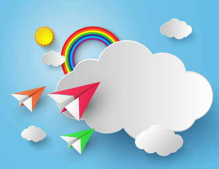 Illustration pour paper plane on blue sky with rainbow - image libre de droit