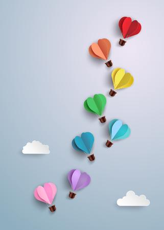 Illustration pour Origami made hot air balloon in a heart shape. - image libre de droit