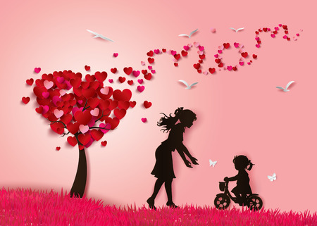 Illustration pour Beautiful women with her daughters.happy mothers day - image libre de droit
