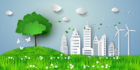 Ilustración de concept of eco with building and nature.paper cut style - Imagen libre de derechos