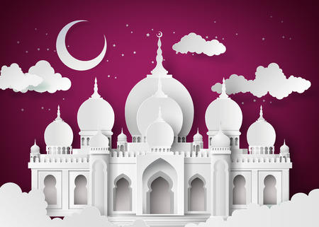 Ilustración de The mosque and the sky at night with half moon.paper cut style. - Imagen libre de derechos