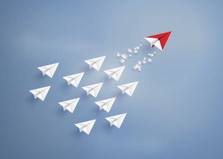 Ilustración de leadership concept with red and white paper plane on blue sky.paper art style. - Imagen libre de derechos