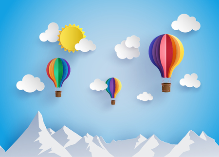 Illustration pour Origami made colorful hot air balloon flyin over moutain with cloud.paper art style. - image libre de droit