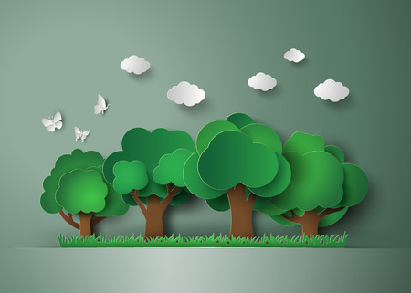 Ilustración de forest with trees and grass. paper art style - Imagen libre de derechos