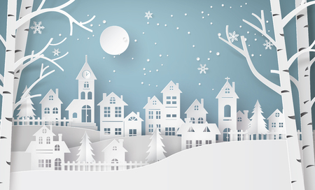 Illustration pour Winter Snow Urban Countryside Landscape City Village with ful lmoon,Happy new year and Merry christmas,paper art and craft style. - image libre de droit