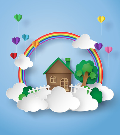 Illustration for paper art of little home on the sky with rainbow and cloud. - Royalty Free Image