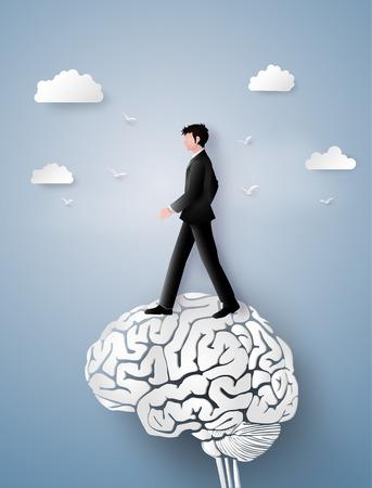 Ilustración de Concept of leader vision and thinking, business man walking on the brain gear,paper art and craft style - Imagen libre de derechos