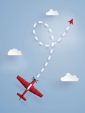 Illustrazione per Paper art illustration of a red plane targeting a point in the sky - Immagini Royalty Free
