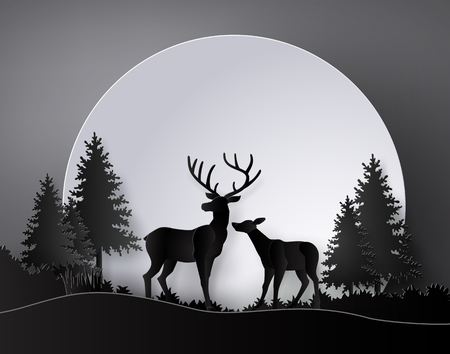 Illustration pour Deer in forest with deer in forest with  full moon.The illustrations do the same paper art and craft style - image libre de droit