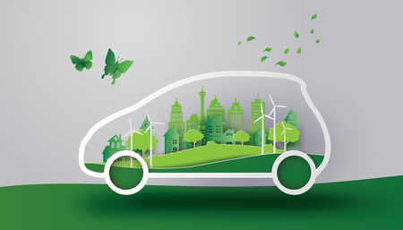 Illustration pour A concept of eco car with  nature in the city.paper art and craft style. - image libre de droit