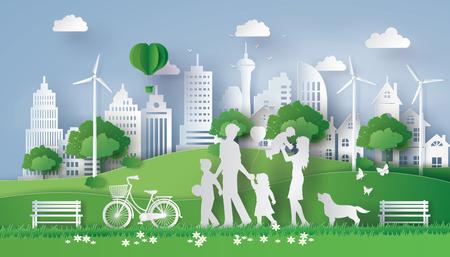 Ilustración de Concept of eco with happy family walking on the field  .paper art style - Imagen libre de derechos