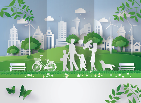 Illustration for Concept of eco with family - Royalty Free Image
