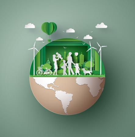 Ilustración de Paper art concept of eco friendly - Imagen libre de derechos