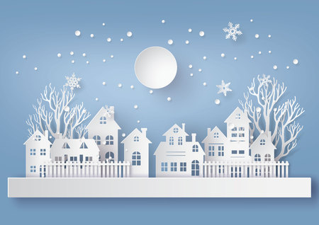 Illustration for Winter Snow Urban Countryside Landscape City Village with full moon,Happy new year and Merry christmas,paper art and craft style. - Royalty Free Image
