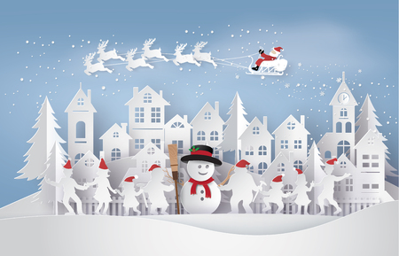 Ilustración de Merry Christmas and Happy New Year. Illustration of Santa Claus on the sky coming to City with happy family dance around snowman,paper art and craft style - Imagen libre de derechos