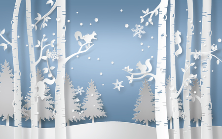 Illustration pour Illustration of winter season with the squirrel is climbing on the tree and snow is shining. Paper art style. - image libre de droit