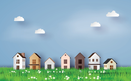 Illustration for Paper art of house in green field and blue sky. - Royalty Free Image