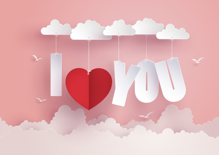 Ilustración de Concept of  love and Valentine day,message I LOVE YOU  hang on the sky , Paper art and craft style. - Imagen libre de derechos