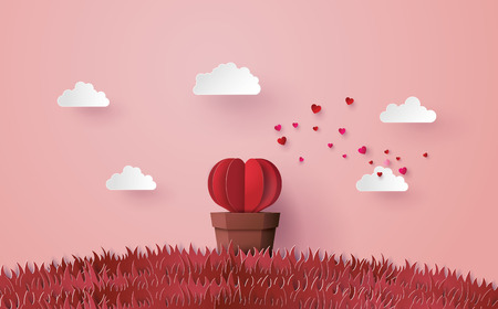 Illustration pour Illustration of love and valentine's day, Origami made Heart shape tree with pot set in the pink grass, Paper art and craft style. - image libre de droit