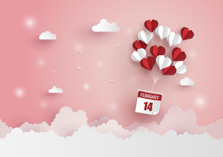 Illustration for Illustration of Love and Valentine Day,Paper hot air balloon heart shape floating on the sky , Paper art and craft style. - Royalty Free Image