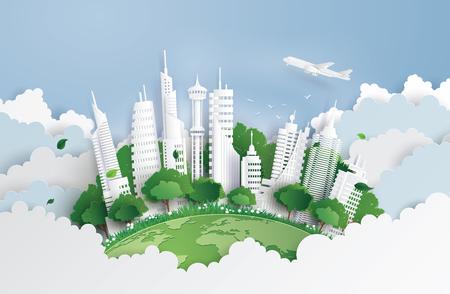 Ilustración de concept of green city with building on sky. Paper art and digital craft style. - Imagen libre de derechos